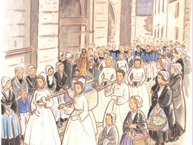 Étape 12 : procession de la Vierge, église Notre-Dame du Juch, Le Juch