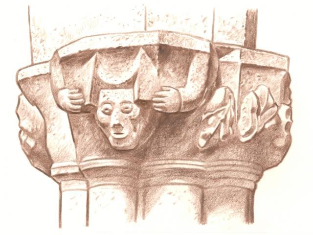 Étape 5 : chapiteau dans l'église Saint-Ergat
