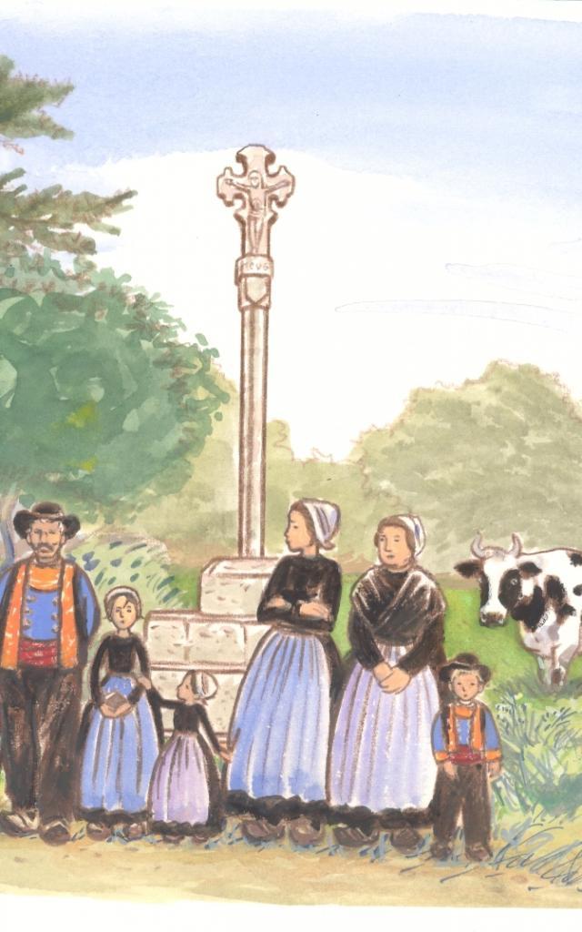 Attente de la procession devant la croix de Lanriec