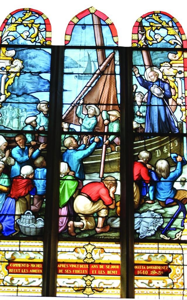 Départ du missionnaire Michel Le Nobletz, vitrail de l'Eglise Saint-Herlé de Ploaré