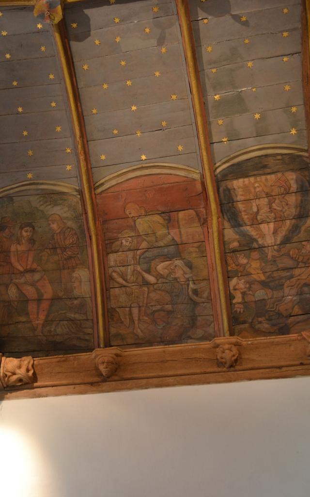 Lambris peint de la chapelle Saint-Jacques à Pouldavid