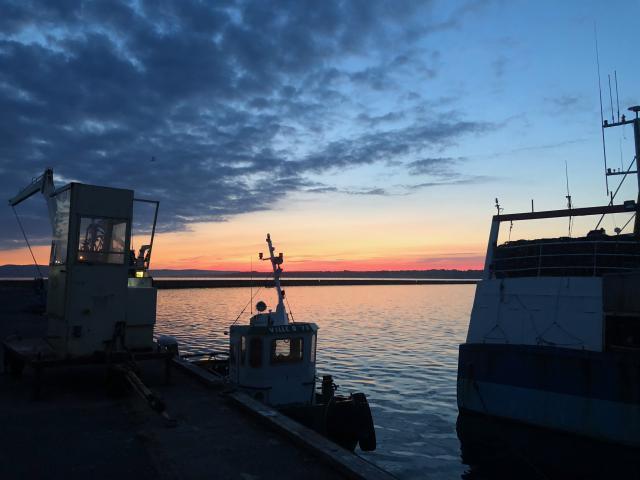 fishing harbor in the morning